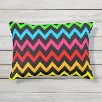 Boys Girls Home Decor Colorful Neon Rainbow Outdoor Pillow