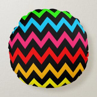 Boys Girls Home Decor Colorful Neon Rainbow Round Pillow
