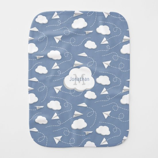 boys girls paper airplanes w clouds monogrammed baby burp cloth