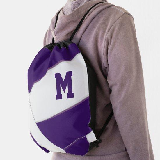 boys girls purple white sports monogram volleyball drawstring bag