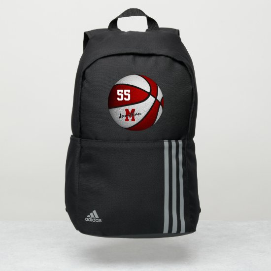 boys girls red white basketball personalized adidas backpack