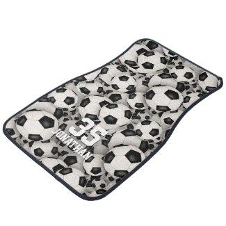 boys girls soccer balls pattern personalized car floor mat
