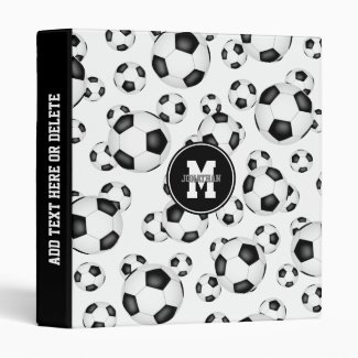 Soccer balls pattern 3 ring binder for boys or girls