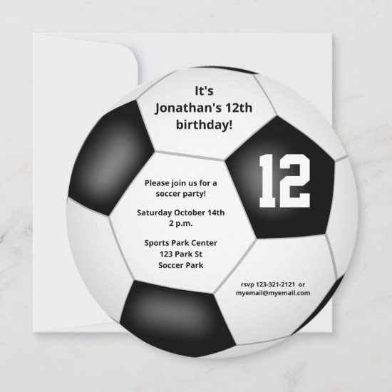 boys girls soccer themed birthday party announcement