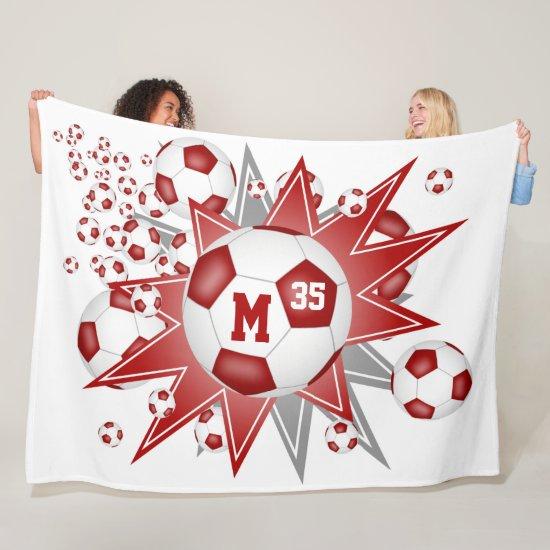 boys girls sports red white soccer ball blowout fleece blanket