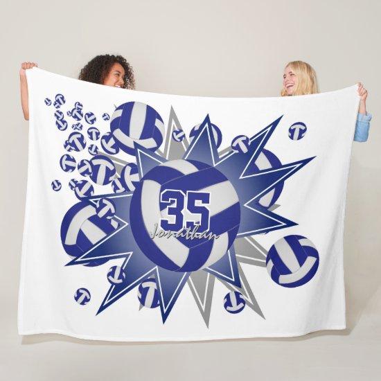 boys girls sporty blue white volleyball blowout fleece blanket