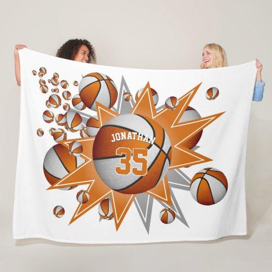 boys girls sporty orange white basketball blowout fleece blanket