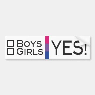 Boys Girls Yes Bisexual LGBT Pride Bumper Sticker