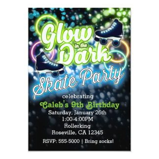 Boys GLOW in dark SKATE PARTY Birthday Invitation