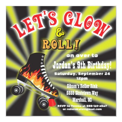 Boys Roller Skating Party Invitations – Roller Skating Birthday Party Invitations
