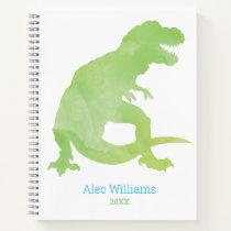 Boys Green Dinosaur Watercolor T-Rex Kids Notebook