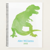 Boys Green Dinosaur Watercolor T-Rex Kids Planner
