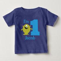 Boys Green Monster 1st Birthday Party T-shirt
