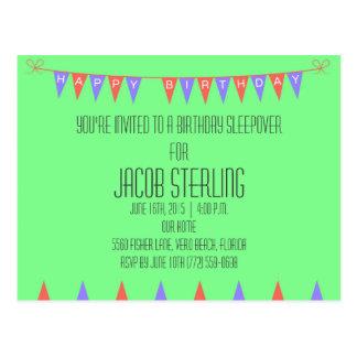 Boys Green Sleepover Birthday Party Invite Postcard