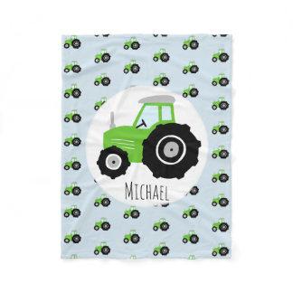 Boy's Green Tractor Pattern and Name Children's Fleece Blanket