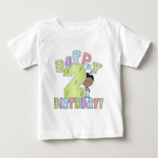 Boys Happy 2nd Birthday,African American Baby T-Shirt