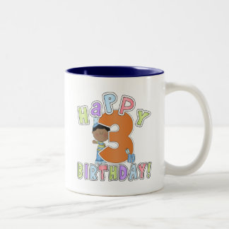 Boys Happy 3rd Birthday,African American Two-Tone Coffee Mug