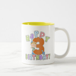 Boys Happy 3rd Birthday Two-Tone Coffee Mug