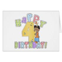 Boys Happy 4th Birthday,African American Card