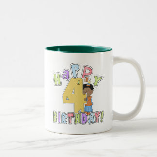 Boys Happy 4th Birthday,African American Two-Tone Coffee Mug