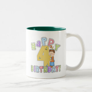 Boys Happy 4th Birthday Two-Tone Coffee Mug