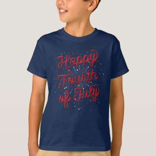 Boys Happy 4th of July T_Shirt Dk Blue Red
