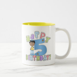 Boys Happy 5th Birthday,African American Two-Tone Coffee Mug