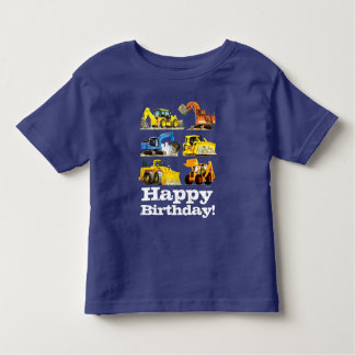 Boys Happy Birthday Construction Digger Excavator Toddler T-shirt