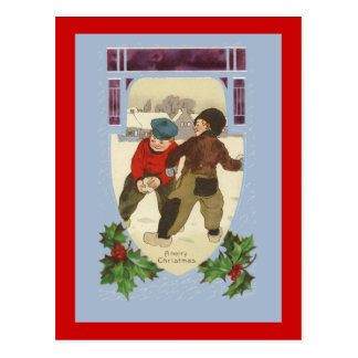 Boys Having a Snowball Fight Cute Holiday Cards
