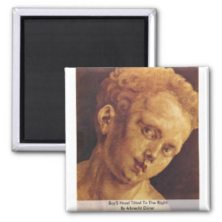 Boy'S Head Tilted To The Right By Albrecht Dürer 2 Inch Square Magnet