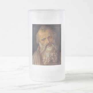 Boy's head tilted to the right 16 oz frosted glass beer mug
