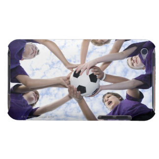 Boys holding soccer ball in huddle barely there iPod covers
