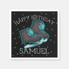 Boy's Ice Skate Birthday Paper Napkins
