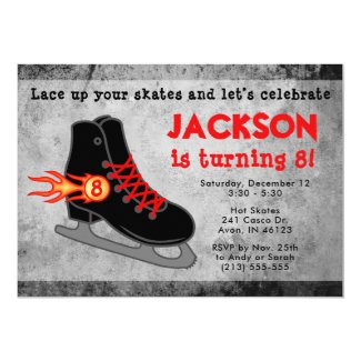 Boy's Ice Skate Extreme Birthday Invitation