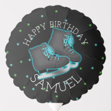 Boy's Ice Skate Personalized Birthday Balloon