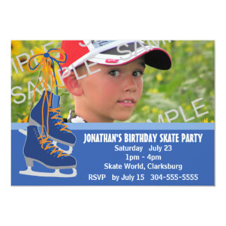 Boy's Ice Skating Party 5x7 Paper Invitation Card