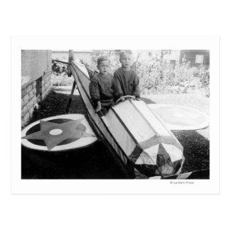 Boys in a Soap-Box Car Postcard