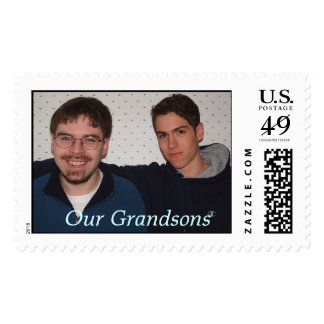 Boys in dining room, Our Grandsons Postage Stamp