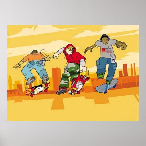 Boys Jumping on Skateboards Poster