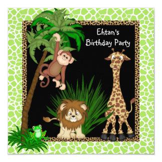 "Boys Jungle Birthday Party 5.25"" Square Invitation Card"