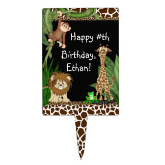 Boys Jungle Safari Birthday Cake Toppers