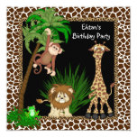 Boys Jungle Safari Birthday Party Custom Announcements