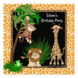 Boys Jungle Safari Birthday Party Invitations