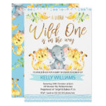 Boys Jungle Wild One Baby Shower Invitation