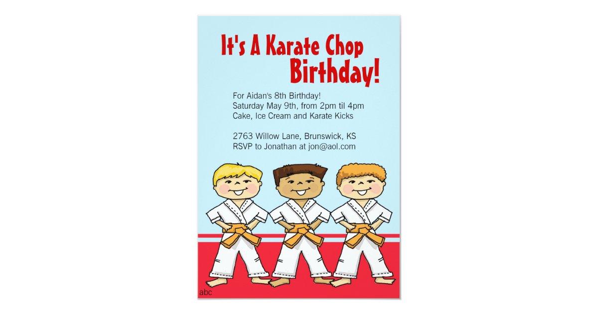 Boys Karate Chop Party Invitations | Zazzle.com
