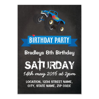 Boys Kids Racing Monster Truck Birthday Party Card