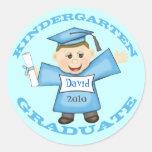 Boy's Kindergarten  Graduation Classic Round Sticker