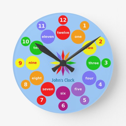 Boys Learn Numbers in English Blue Wall Clock