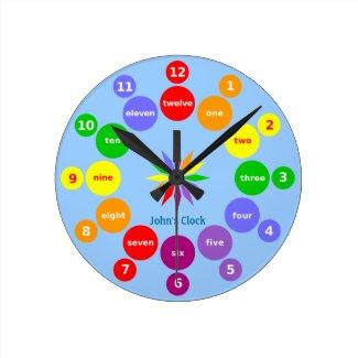 Boys Learn Numbers in English Wall Clock
