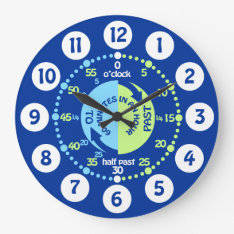 Boys Learn To Tell Time Blue Green Wall Clock at Zazzle
